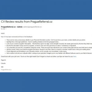 CV Review example 1 by PragueReferral
