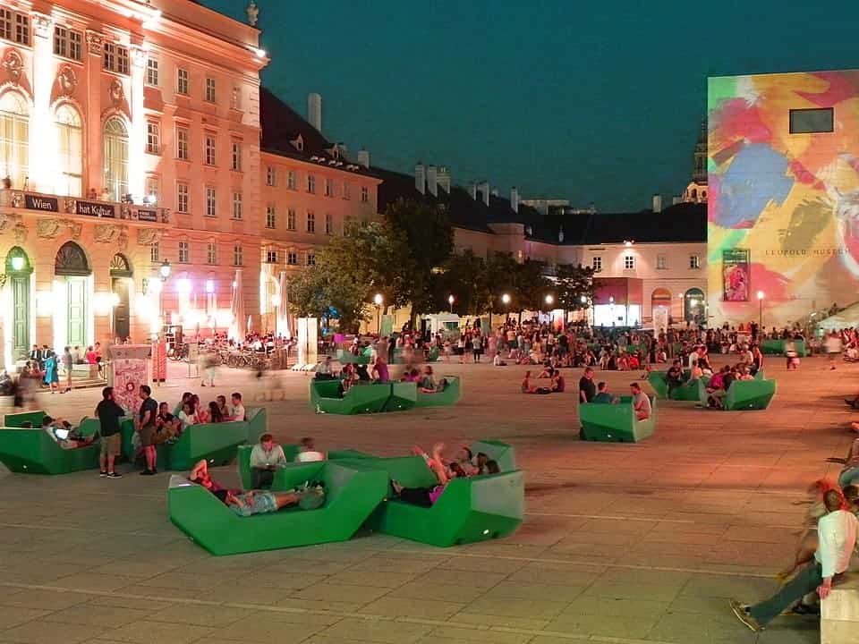 Museums Quartier, Vienna, is a great option for your evening agenda on a day trip from Prague to Vienna