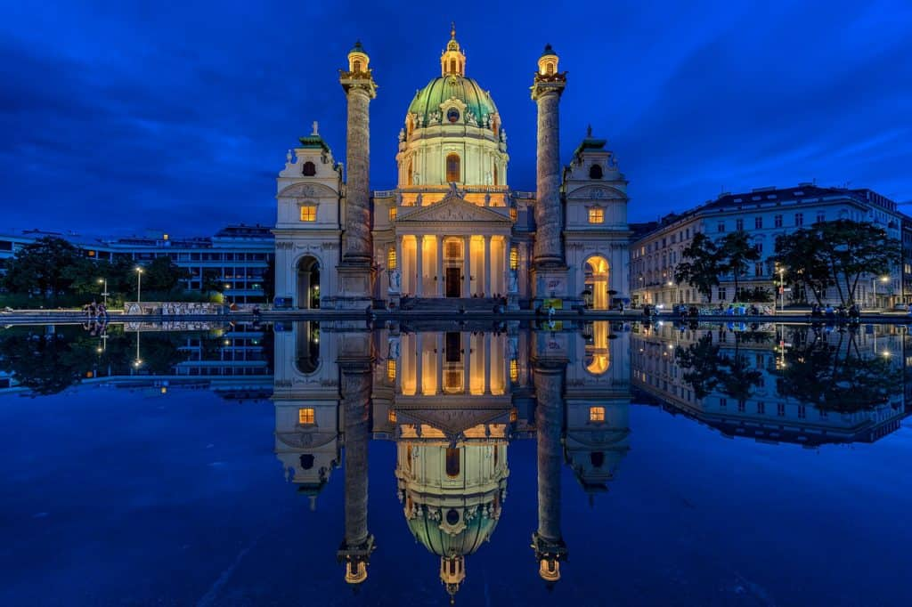 Karlskirche (St. Charle's Cathedral), Vienna. Enjoy it in the evening if you decide to extend your day trip from Prague to Vienna into 2 days.
