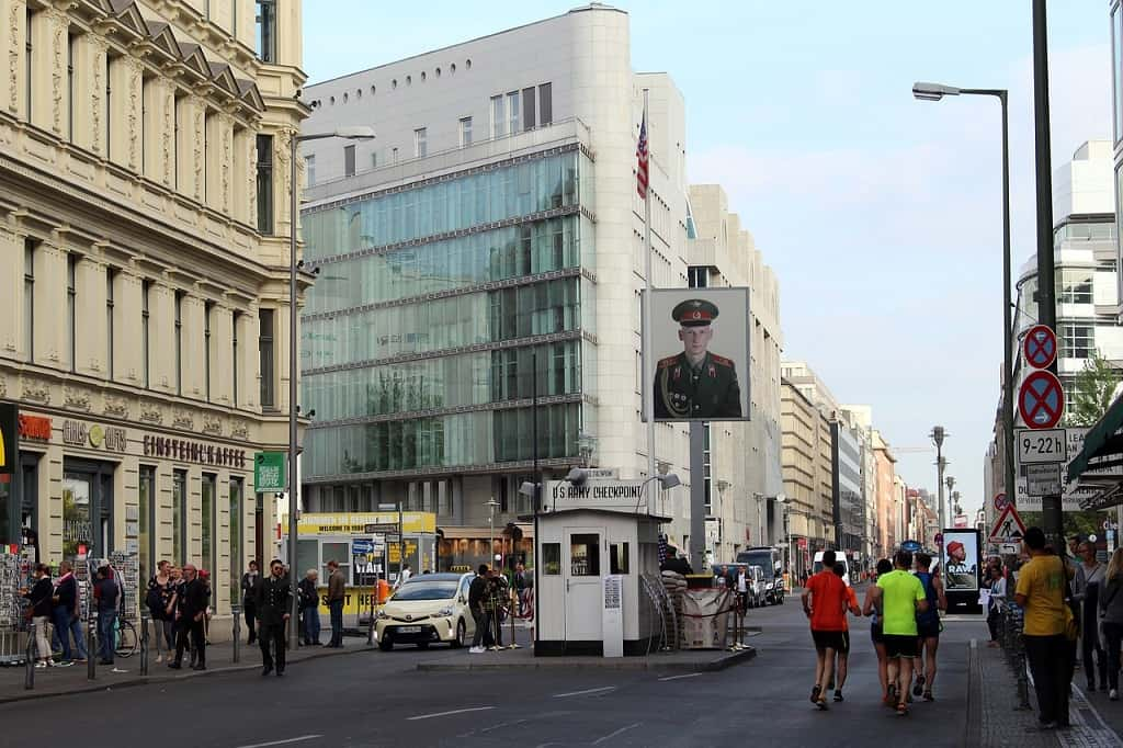 Checkpoint charlie - one of the crossing points of the border between East and West Berlin